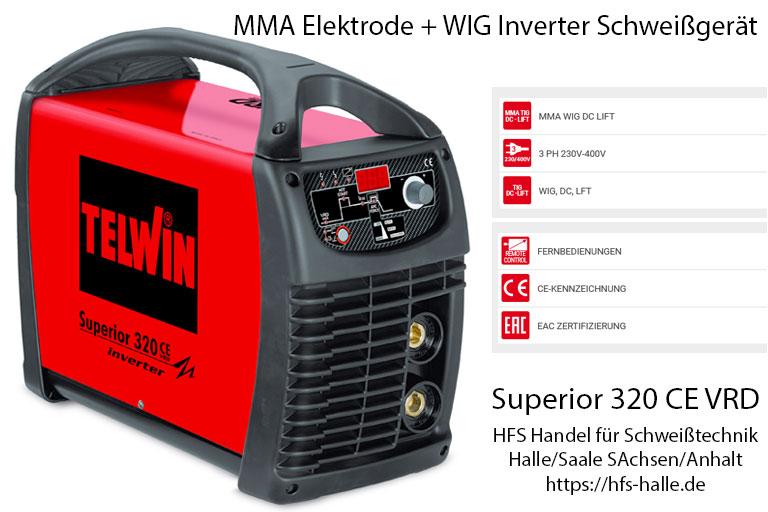 E-Hand Elektroden MMA und WIG Schweißgerät Inverter Superior 320 Telwin