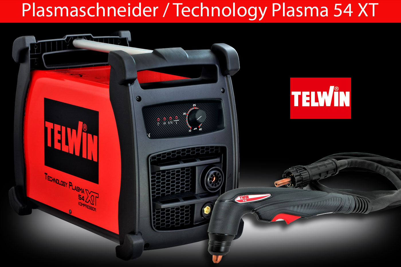 Plasmaschneider mit Kompressor, Plasmaschneidgerät Inverter bis 12 mm Telwin Technology Plasma 54 XT komplett mit PK Brenner