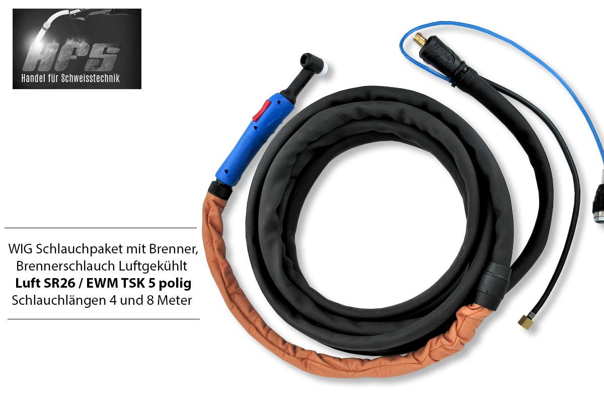 WIG Schlauchpaket SR26 EWM TSK 5 Polig mit Schweißbrenner Brenner