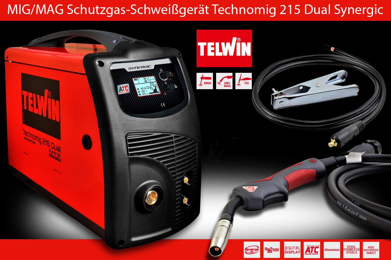 MIG MAG Schutzgas Schweißgerät Inverter Technomig 215 Dual Synergic